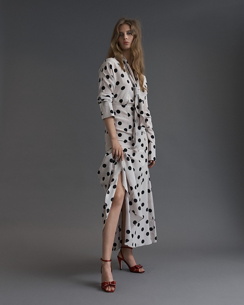 Natasha Zinko Tie-Neck Polka-Dot Silk Dress