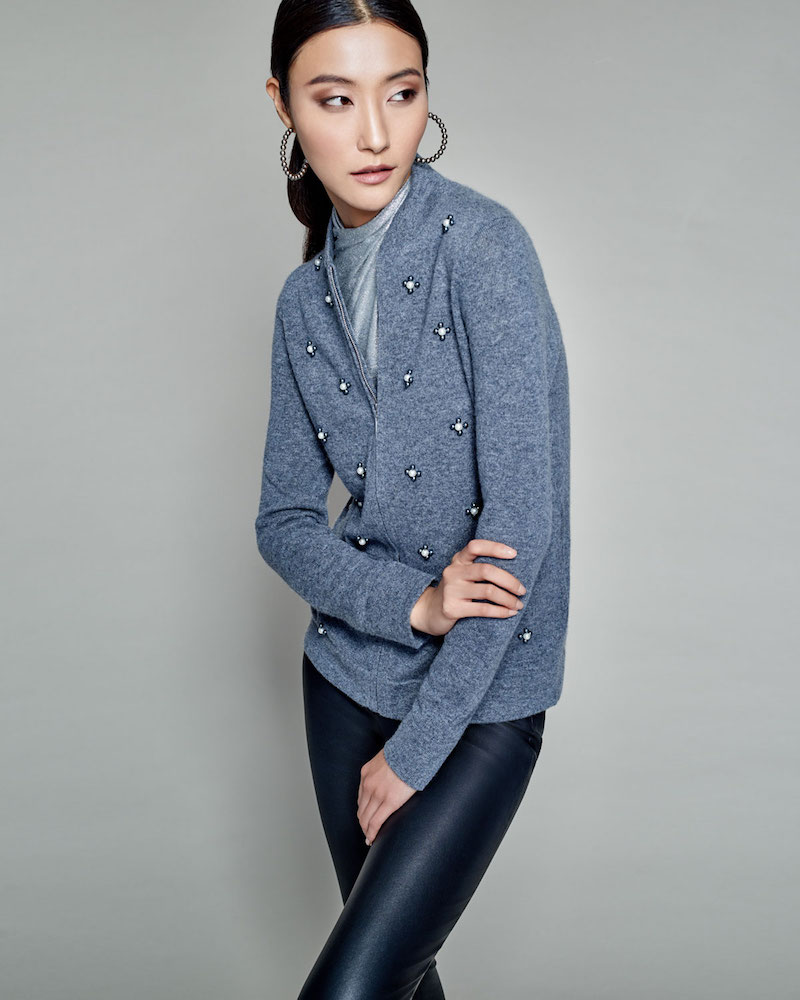 Neiman Marcus Cashmere Collection Cashmere Pearl-Embellished Zip-Front Cardigan