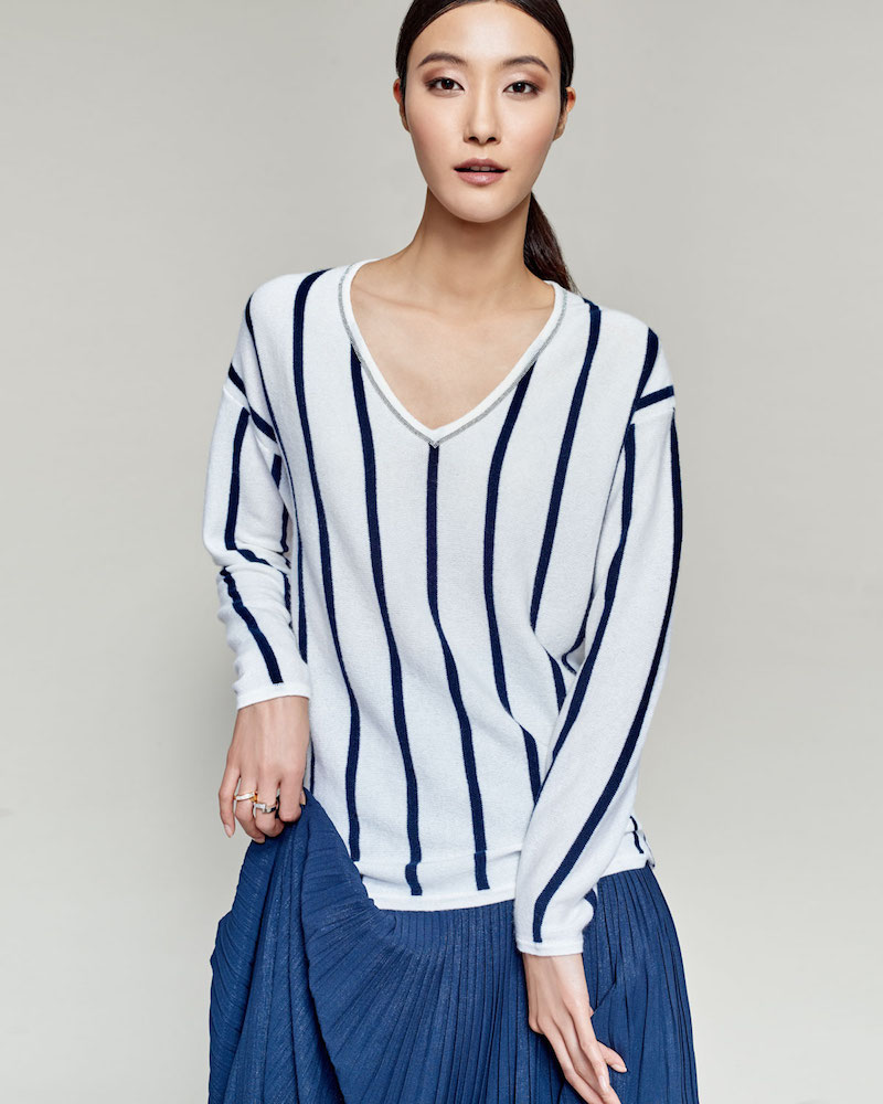 Neiman Marcus Cashmere Collection Chain-Trim Striped Cashmere V-Neck Sweater