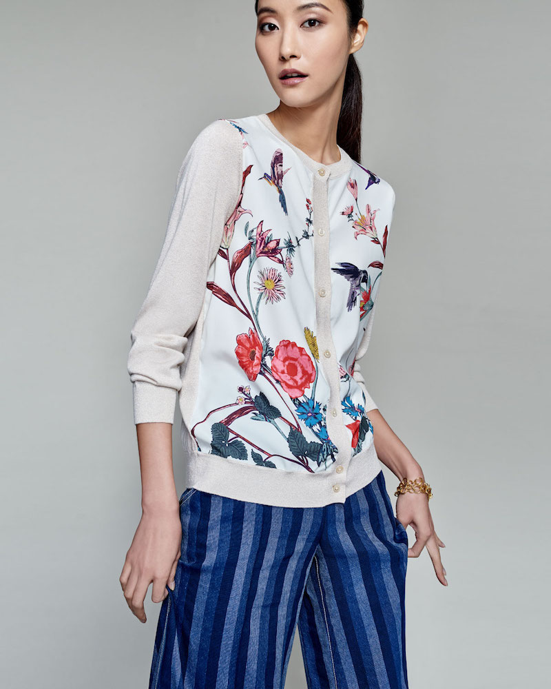Neiman Marcus Cashmere Collection Floral-Print Silk-Panel Cardigan
