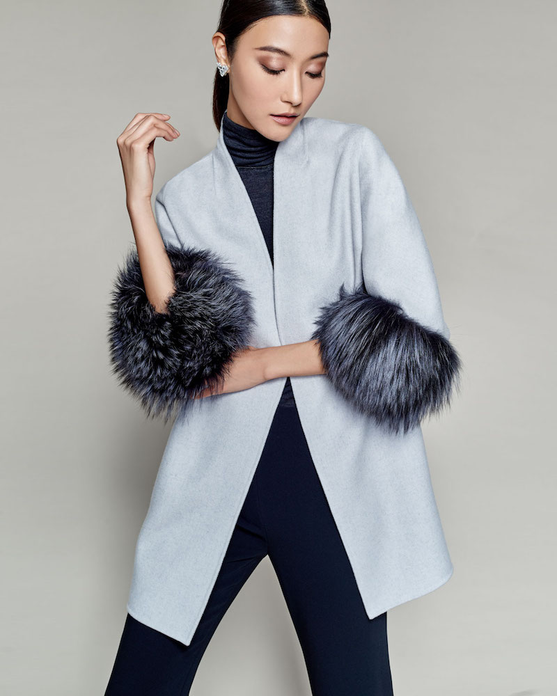 Neiman Marcus Cashmere Collection Luxury Cashmere Cocoon Jacket with Fox Fur Cuffs