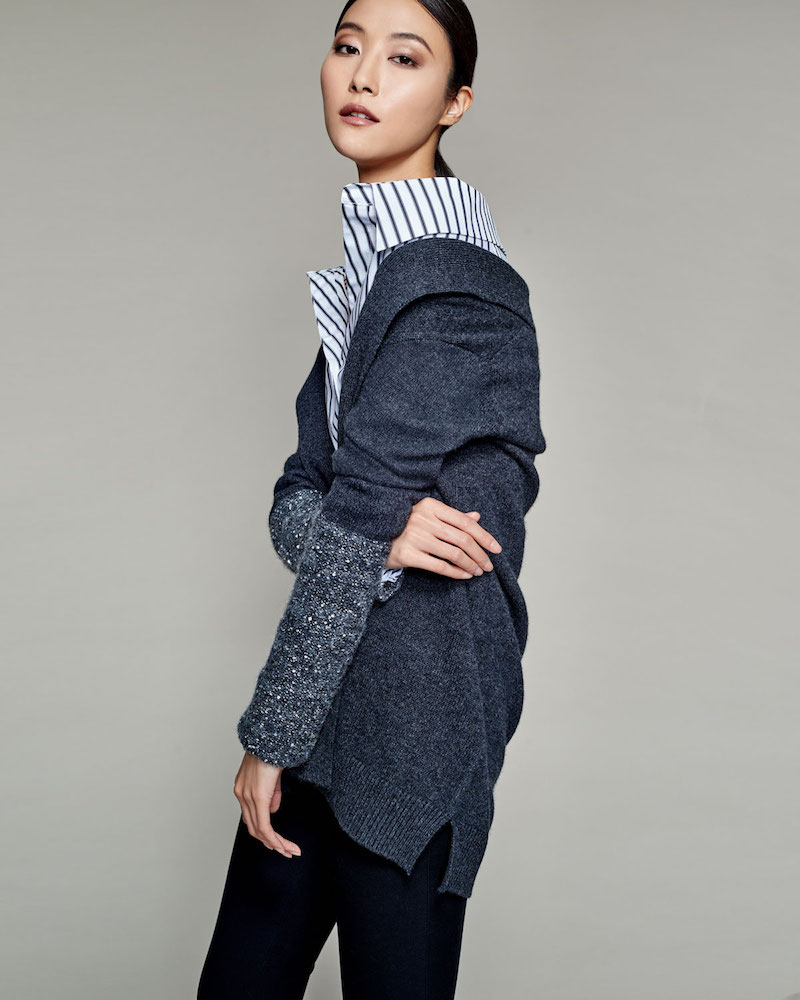 Neiman Marcus Cashmere Collection Open Cashmere Cardigan with Sequined Cuffs