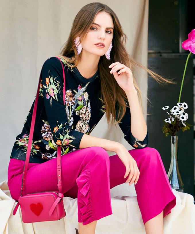 No. 21 Crewneck Multicolor Floral-Print Sweater with Sequins