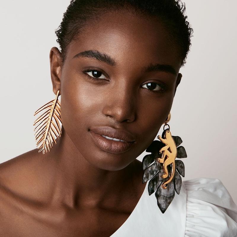 Oscar de la Renta Palm Leaf-Drop Earrings