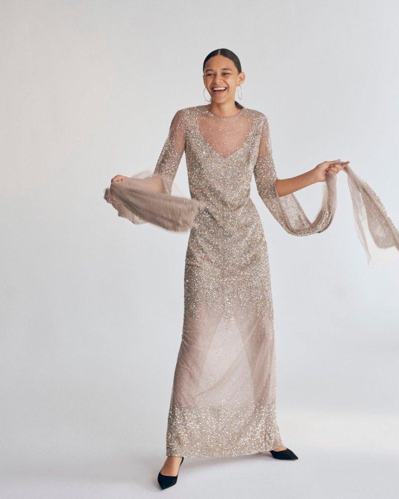 Pamella Roland Ombre Sequin Split-Sleeve Illusion Gown