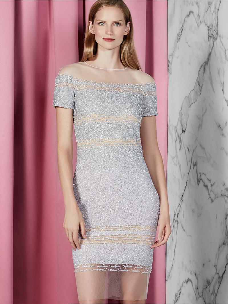 Pamella Roland Short-Sleeve Signature Ombre Sequin Dress