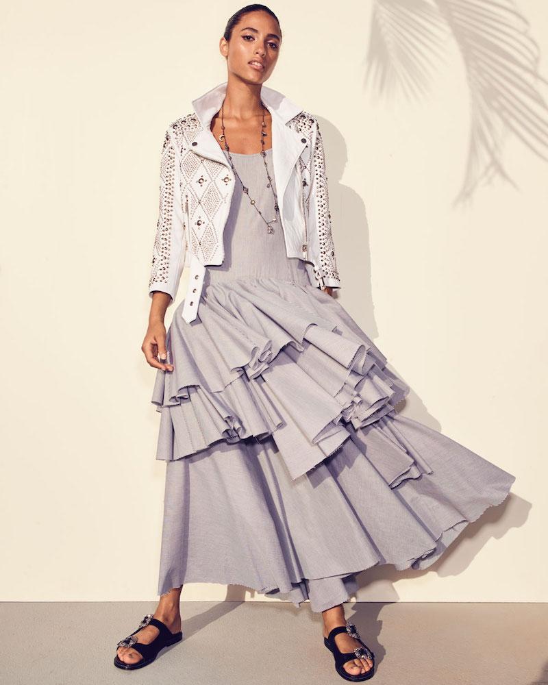 Pascal Millet Sleeveless Tiered Ruffle Striped Cotton Tank Dress