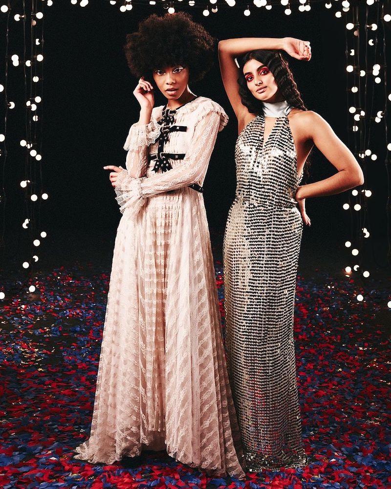 Philosophy di Lorenzo Serafini Velvet-Trim Floral-Lace Gown