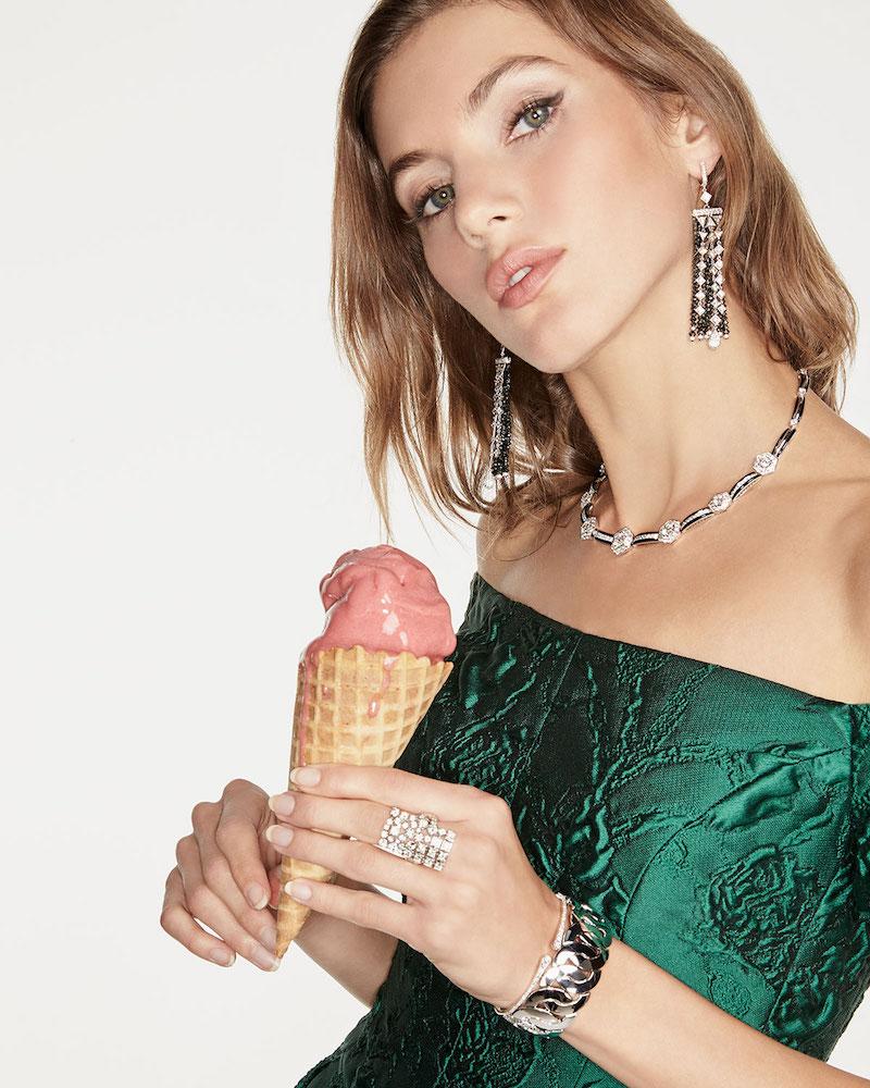 Picchiotti Black Onyx & White Diamond Hexagon Collar Necklace