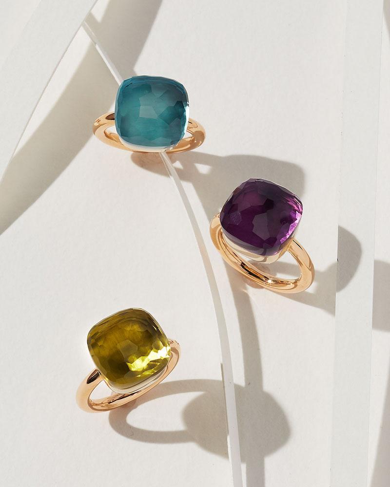 Pomellato Nudo Rose Gold & Blue Topaz Grande Ring