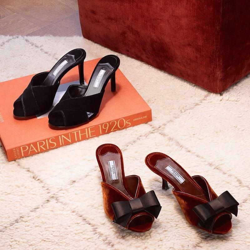 Prada Bow-Embellished Open-Toe Velvet Mules