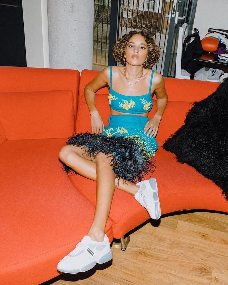 Prada Feather-Trimmed Wool-Blend Bouclé Skirt
