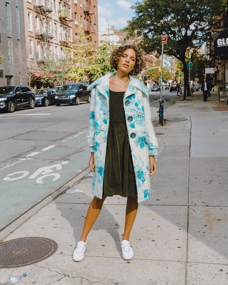 Prada Poppy-Print Mohair And Wool-Blend Coat