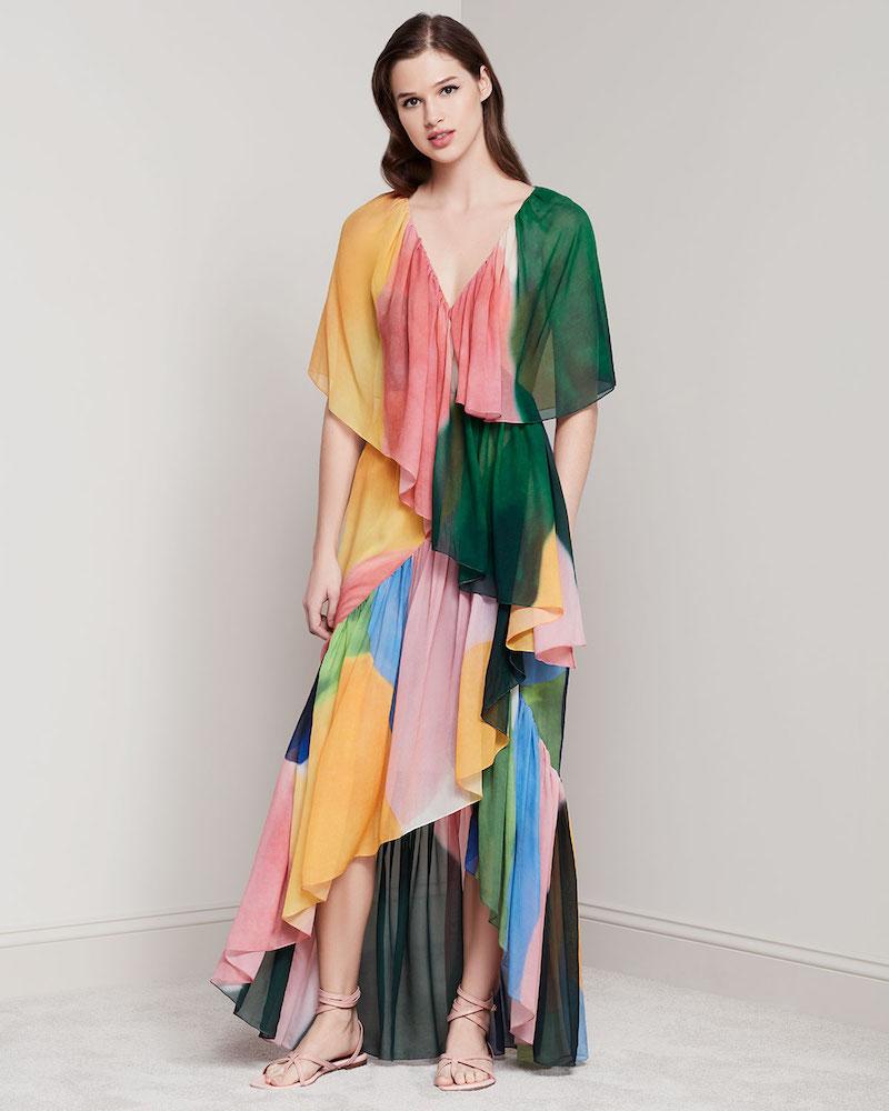 Rosetta Getty Reversible Tiered Silk Watercolor Maxi Dress