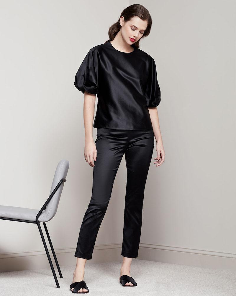 Rosetta Getty Satin Straight-Leg Trousers