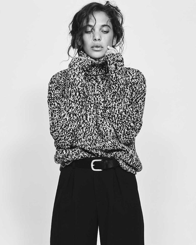 Saint Laurent High-Neck Melange Sweater