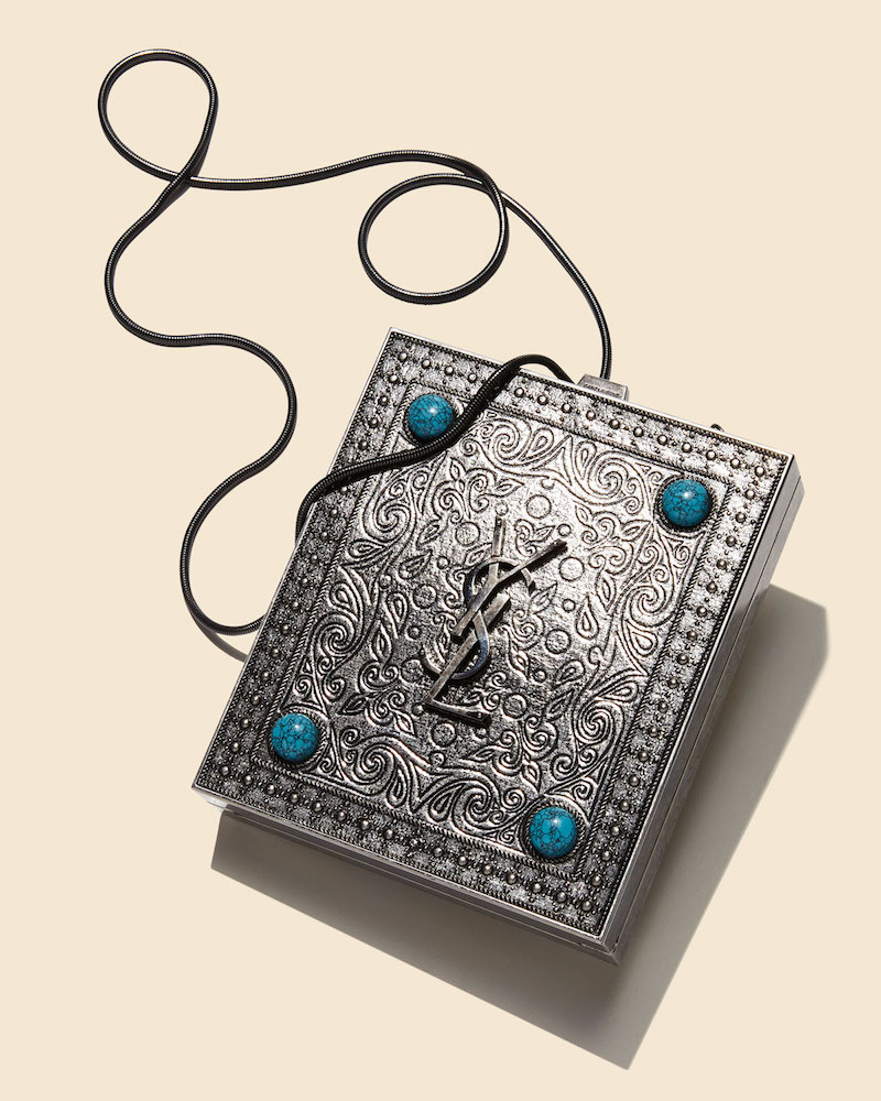 Saint Laurent Tuxedo Box Minaudiere with Turquoise-Hued Studs