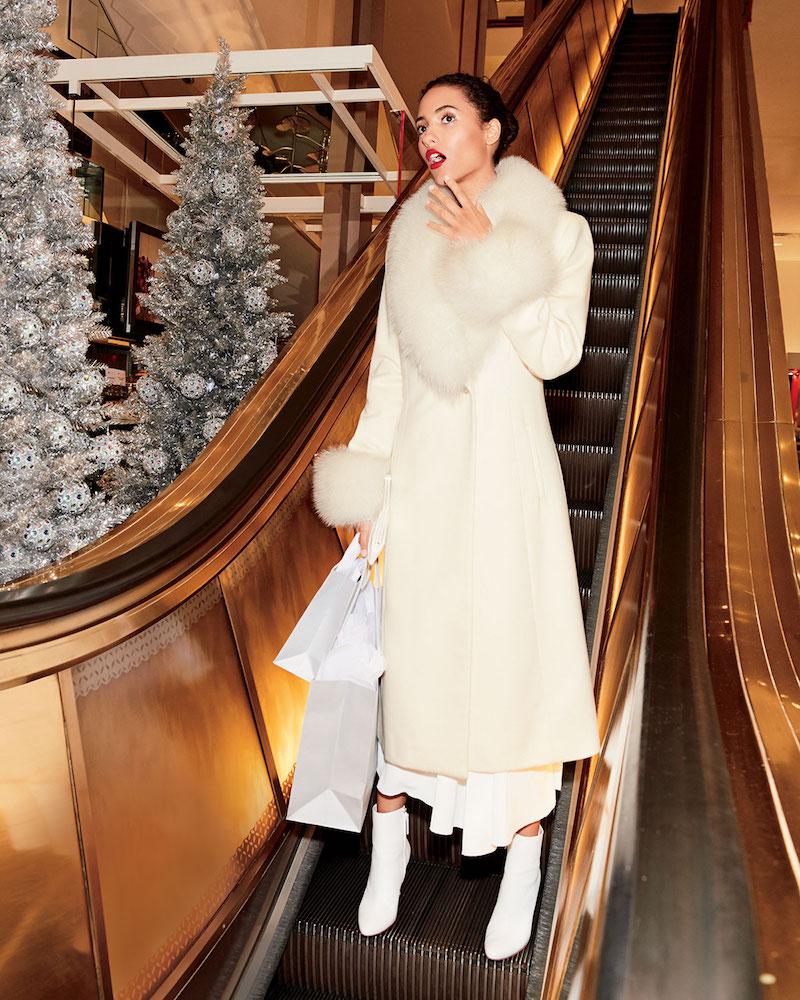 Sofia Cashmere Long-Sleeve Fur Collar & Cuffs Wool-Cashmere Coat