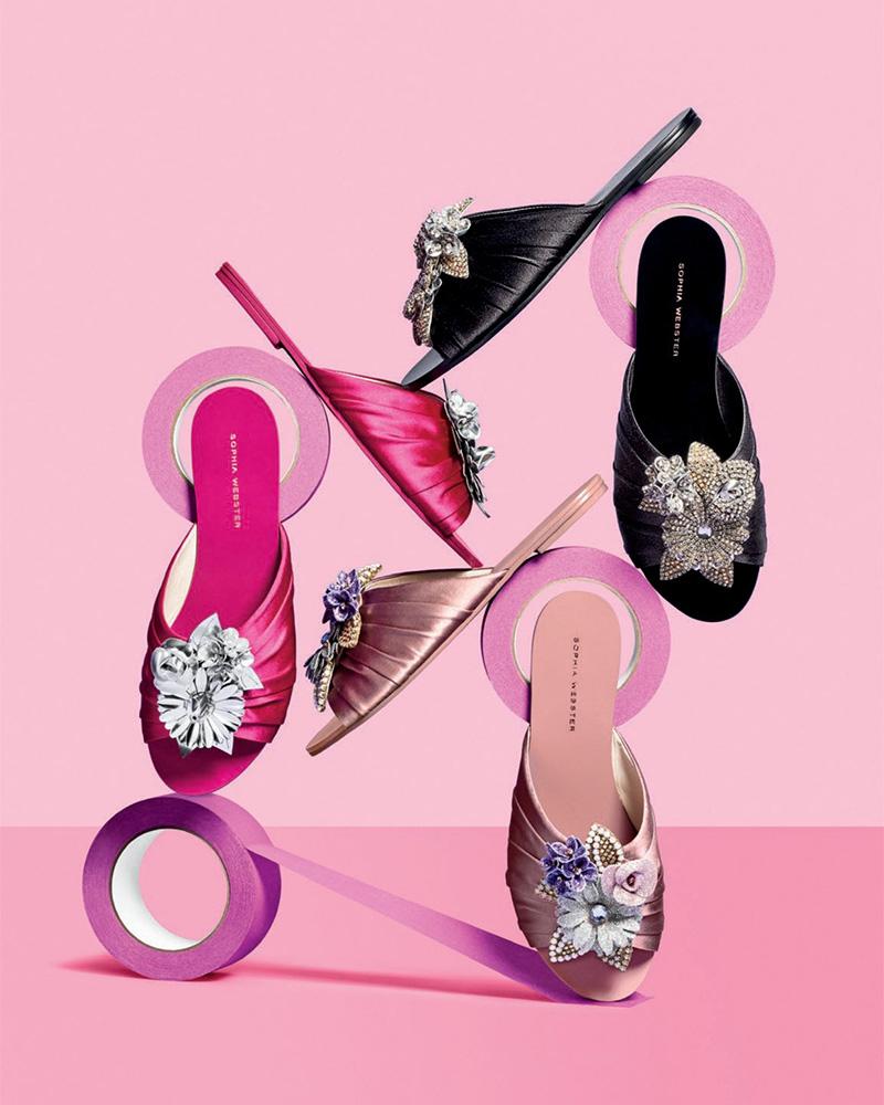 Sophia Webster Lilico Crystal Ruched Satin Slide Sandal