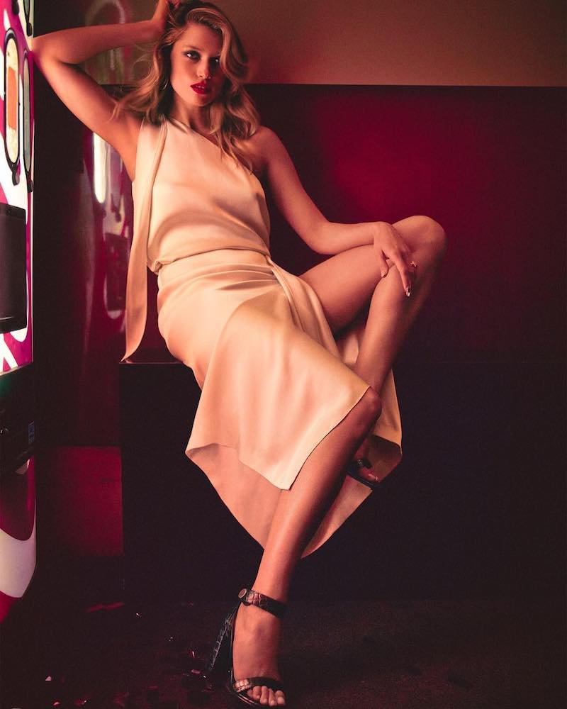 Stella McCartney One-Shoulder Satin Top & Draped Satin Midi Skirt