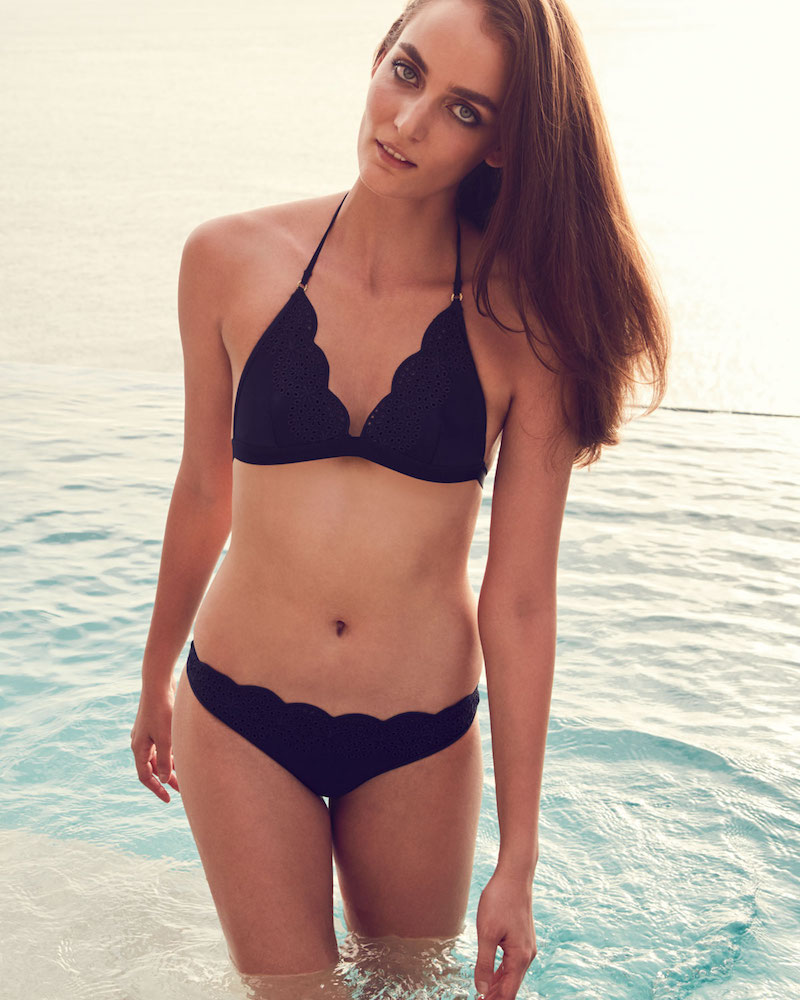 Stella McCartney Scalloped Broderie Anglaise Triangle-Cup Swim Top