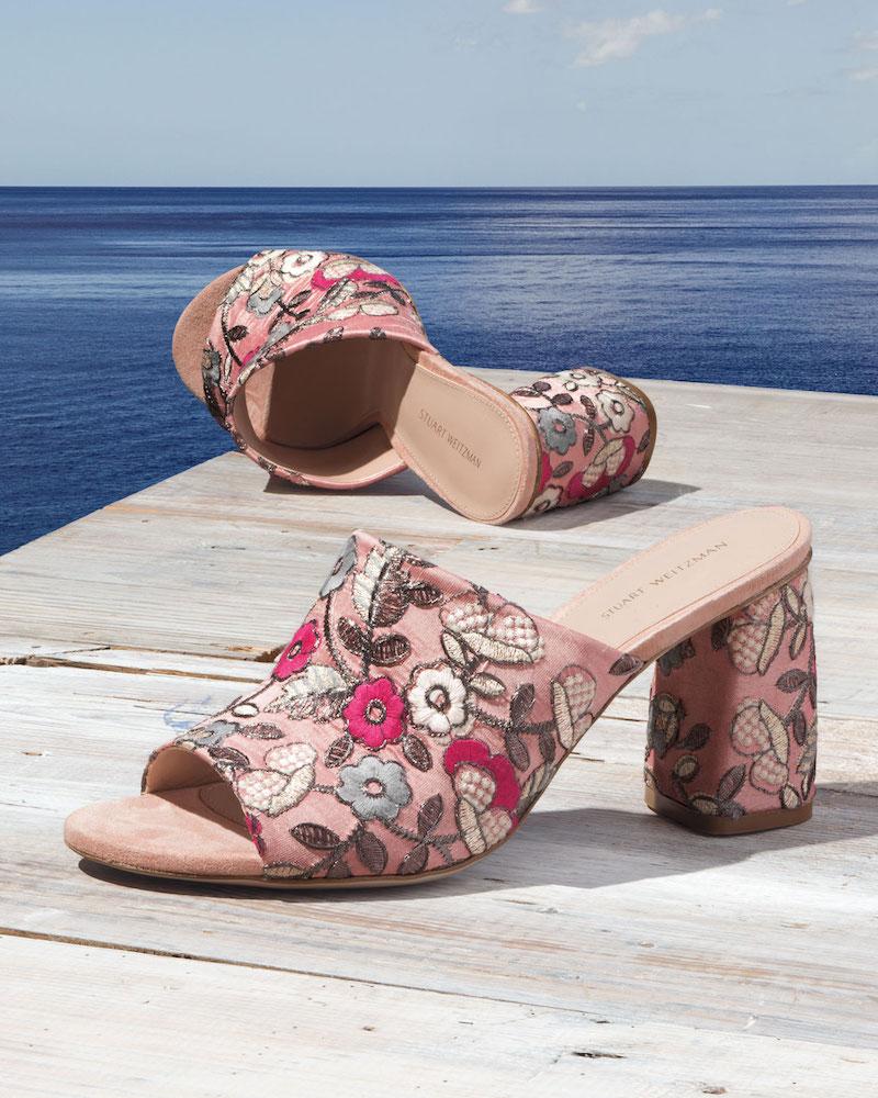 Stuart Weitzman Onevase Floral-Embroidered Mule Sandal