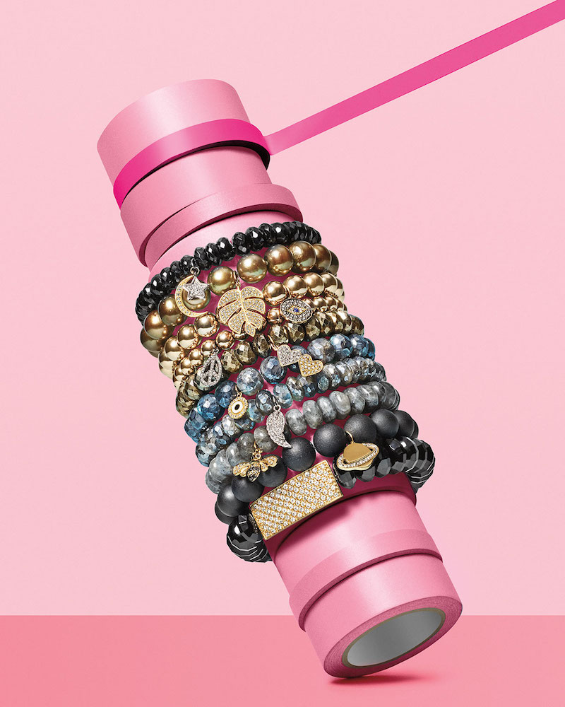 Sydney Evan 8mm Spinel Beaded Bracelet with Diamond Moon & Star Charms