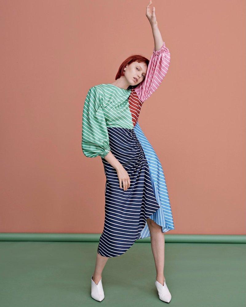 Tibi Midi-Dress in Multicolor Stripe Silk