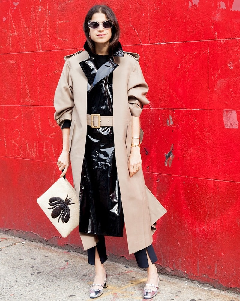 Toga Pleat-Front Contrast-Panel Belted Trench Coat
