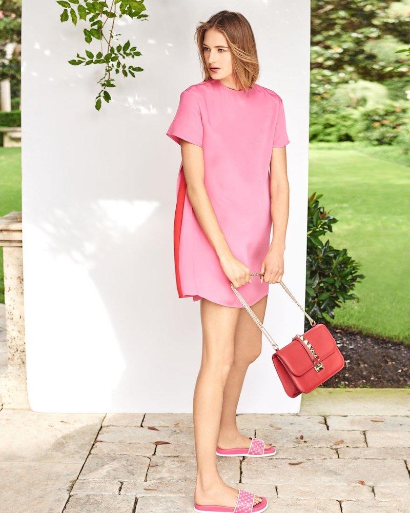Valentino Short-Sleeve Silk Shift Dress