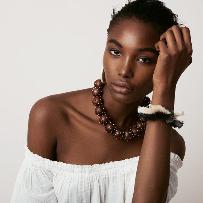 Vanda Jacintho Stud-Embellished Wooden Necklace
