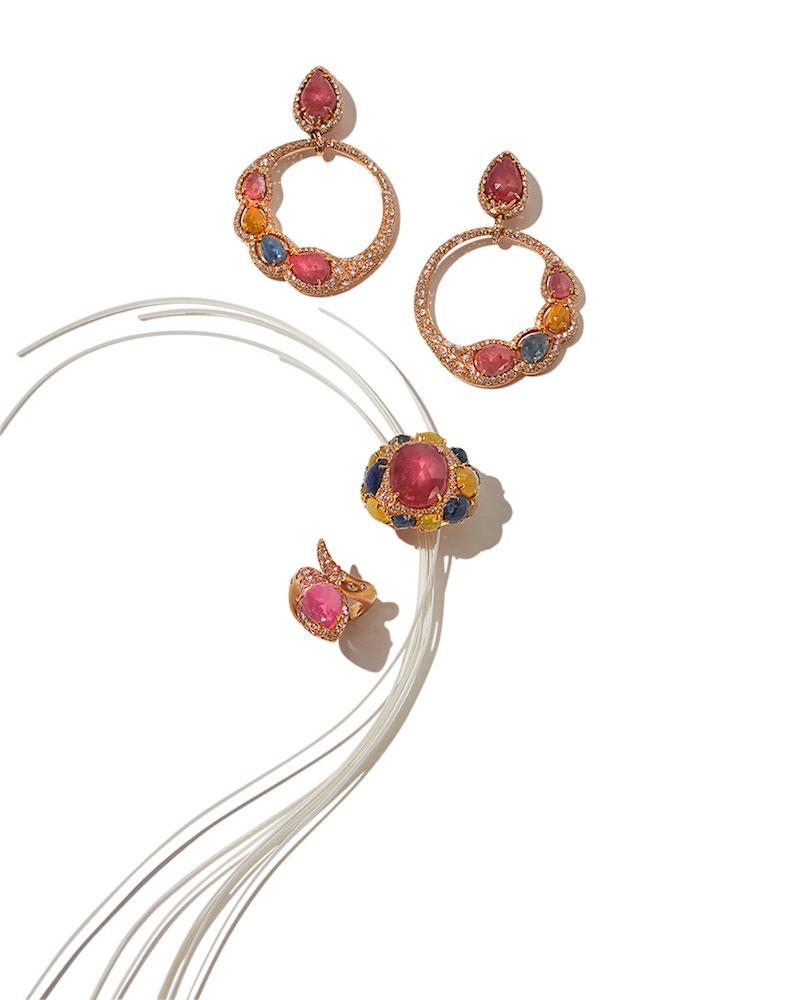 Verdi Open Sapphire & Diamond Circle Earrings in 18K Rose Gold