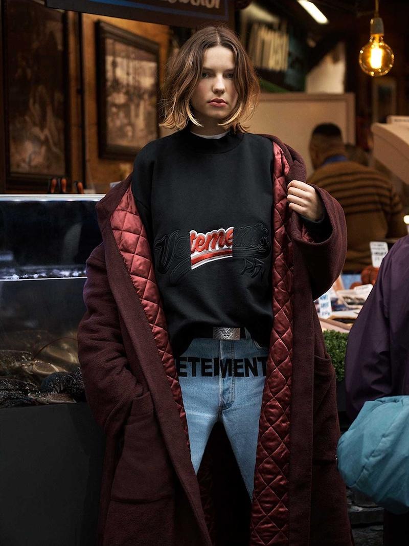 Vetements Logo-Embroidered Cotton-Blend Sweatshirt