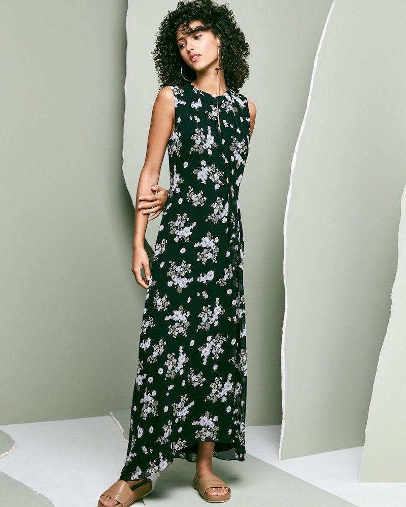 Vince Tossed Floral-Print Sleeveless Silk Maxi Dress