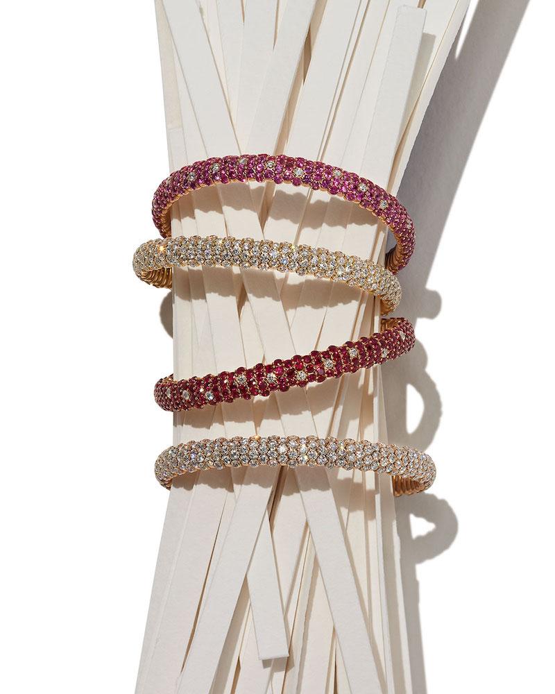 ZYDO Ruby & Diamond Stretch Bracelet in 18K Rose Gold