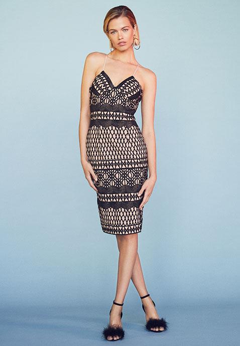 aijek Caroline Embroidered Pencil Dress