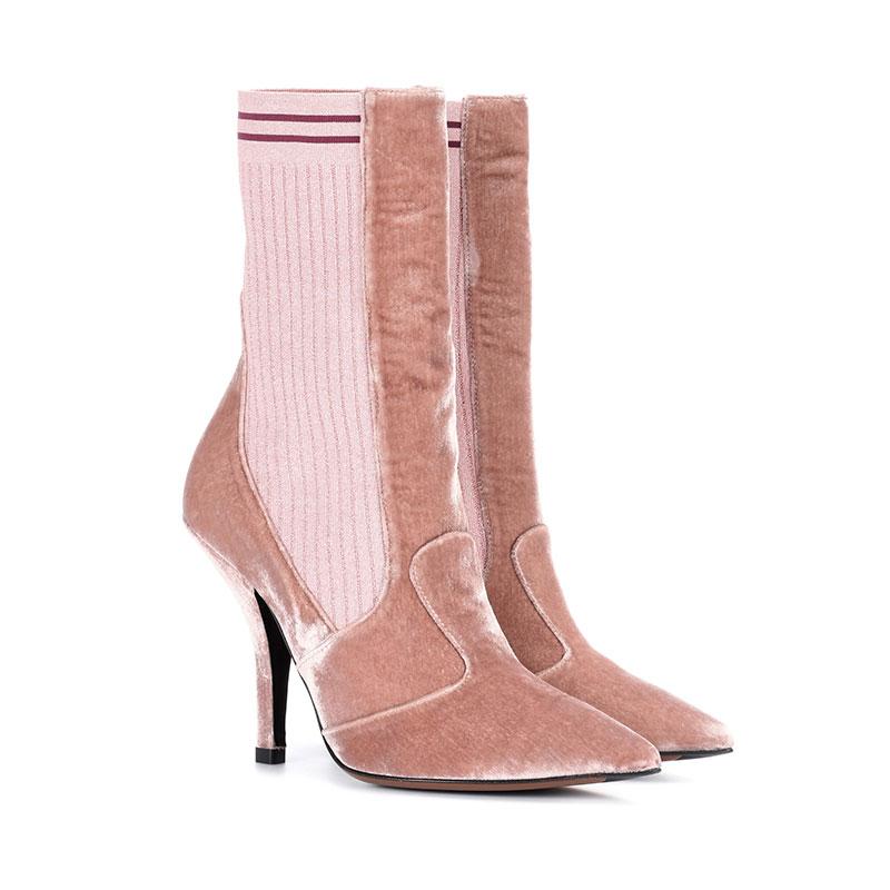 mytheresa.com x Fendi Velvet Ankle Boots