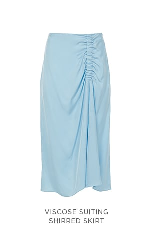 Viscose Suiting Shirred Skirt