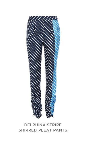 Delphina Stripe Shirred Pleat Pants