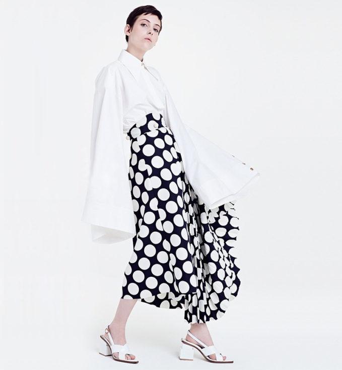 A.W.A.K.E. Giant Polka Dot Pleated Skirt