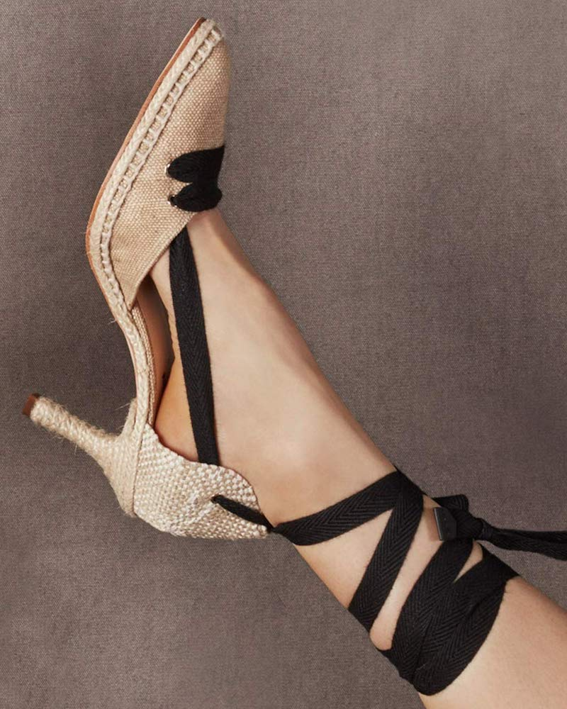 Castañer by Manolo Blahnik By Day Lace-Up Linen Pumps
