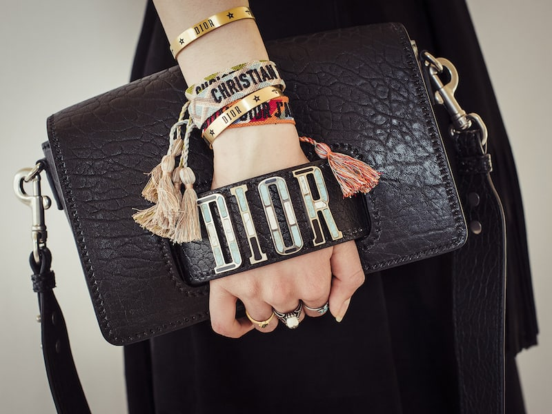 Dior Diorevolution Canyon Grained Lambskin Handbag with Mosaic Motif Charms