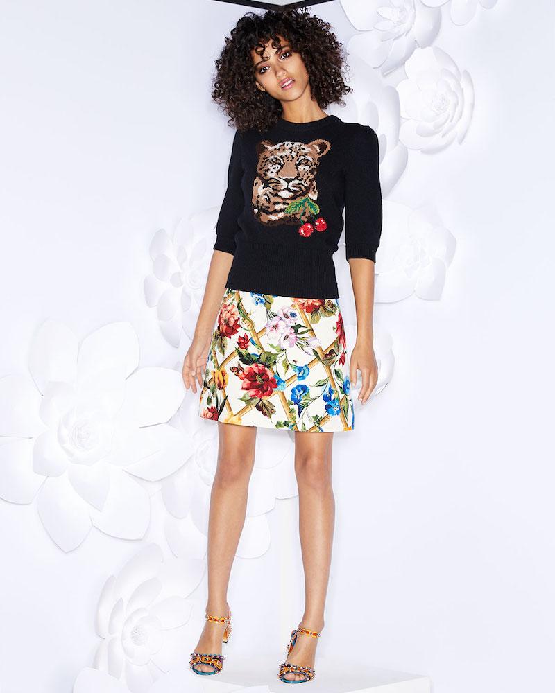 Dolce & Gabbana Floral Bamboo-Print A-Line Wool-Silk Skirt
