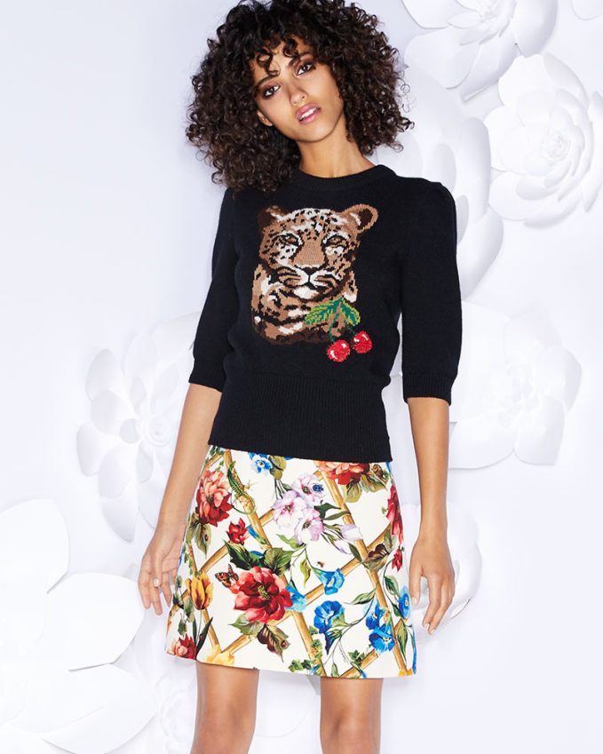 Dolce & Gabbana Leopard & Cherry Print Crewneck Elbow-Sleeve Wool-Cashmere Sweater