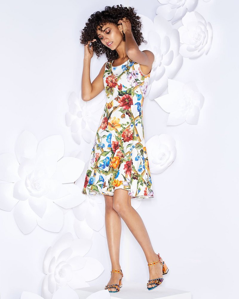 Dolce & Gabbana Sleeveless Scoop-Neck Bamboo Climbing Flowers Print Mini Dress