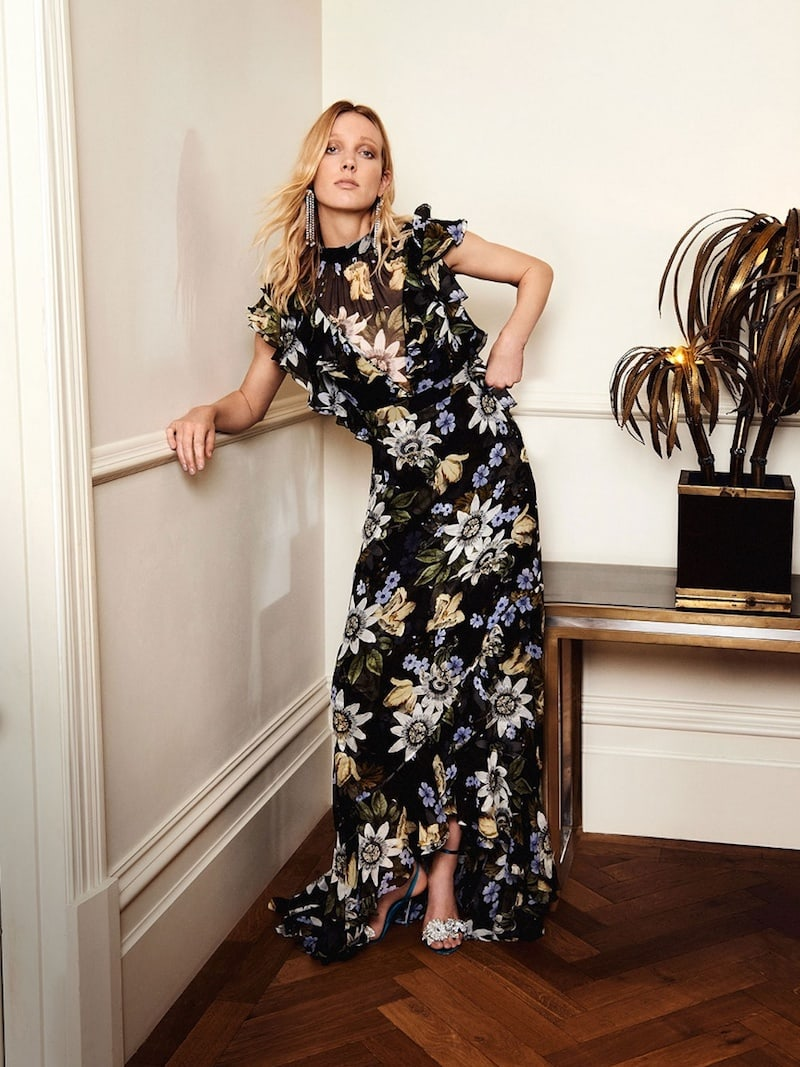 Erdem Riva Passion Flower-Print Ruffle-Trimmed Silk Gown