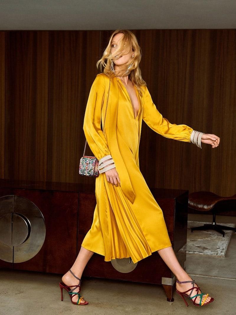 Fendi Abito High-Neck Satin-Cady Midi Dress