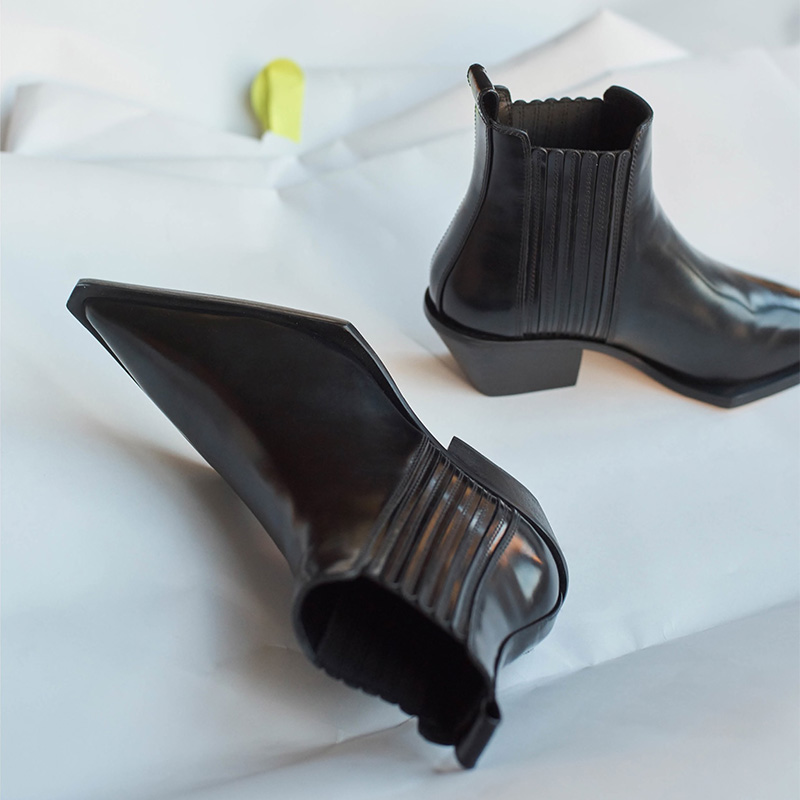 Helmut Lang Leather Cowboy Ankle Boots