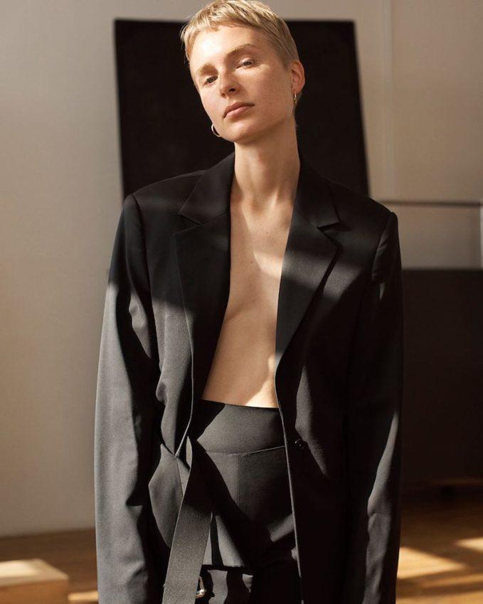 Helmut Lang Open-Chest Wool Belted Blazer