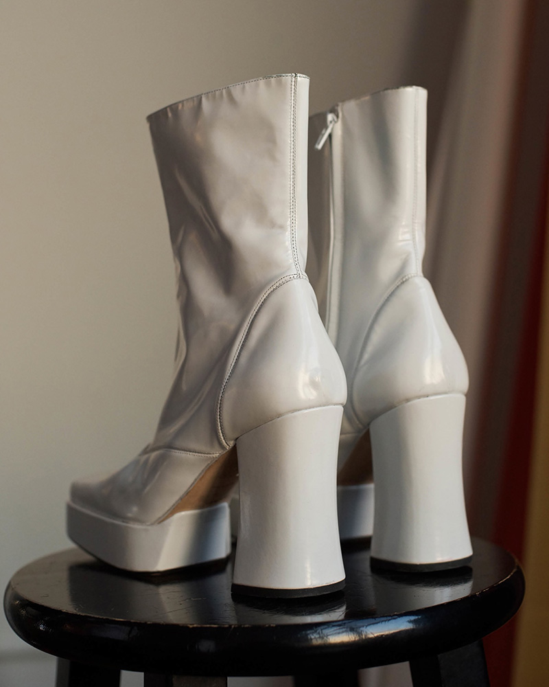 Helmut Lang Spazzolato Leather Platform Ankle Boots